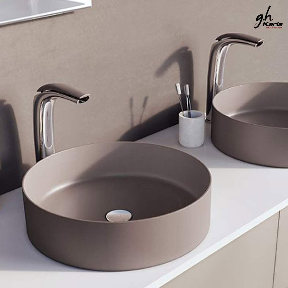 stylish vessel basin with vessel sink faucet