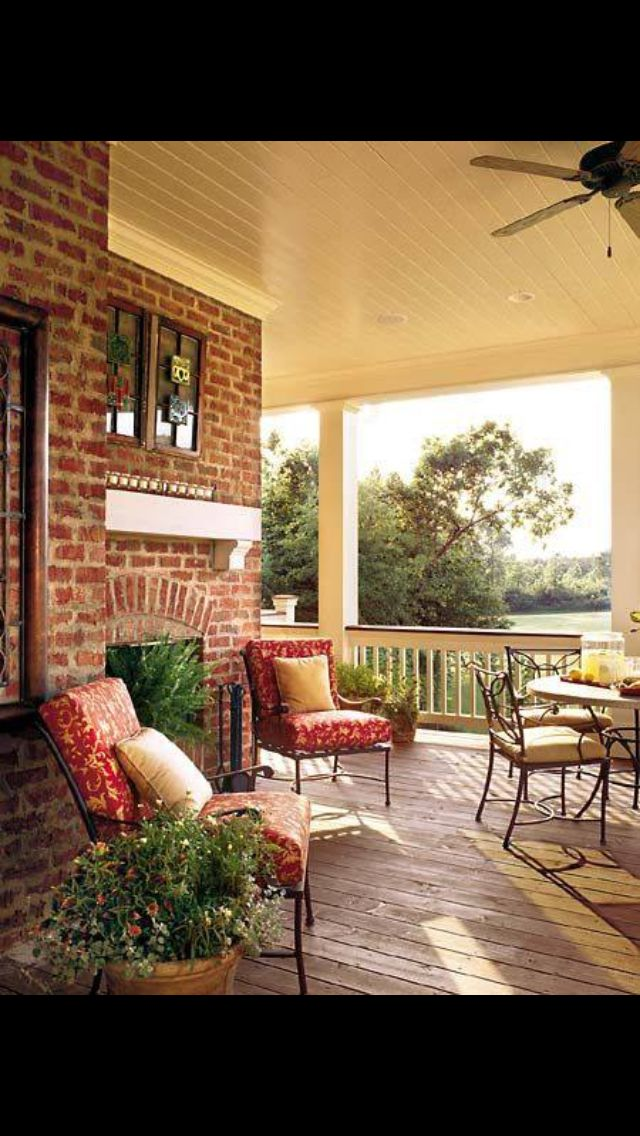 Porch with fireplace and inspiration idea decor