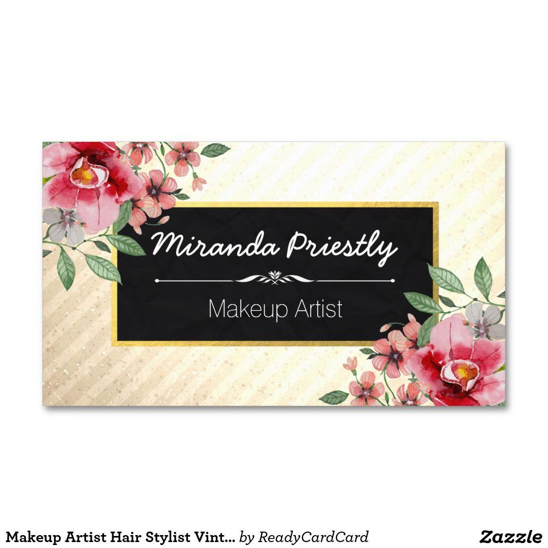 Makeup Artist Hair Stylist Vintage Floral Elegant Business Card ...
