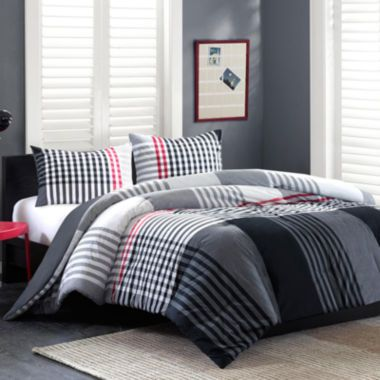 Ink Ivy Blake Plaid Black And White Striped Comforter Set Found At