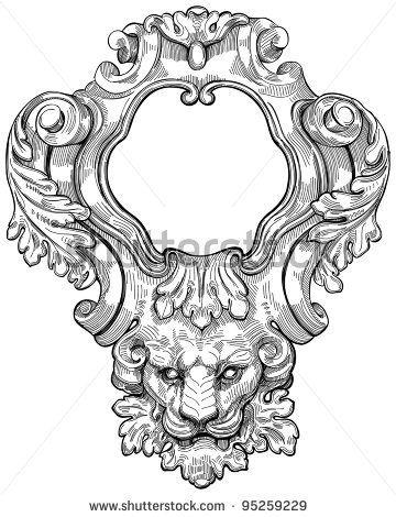 stock photo : Vintage frame & lion head. Bitmap copy my vector ...
