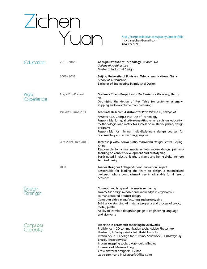 resume product designer