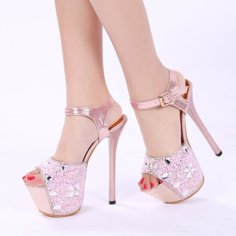 Rhinestone Platform Peep Toe Ankle Wrap Stiletto High Heels