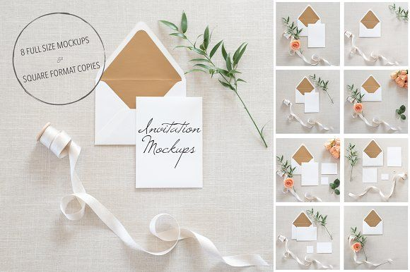 Wedding Invitation Mockups PSD by TwigyPosts on creativemarket