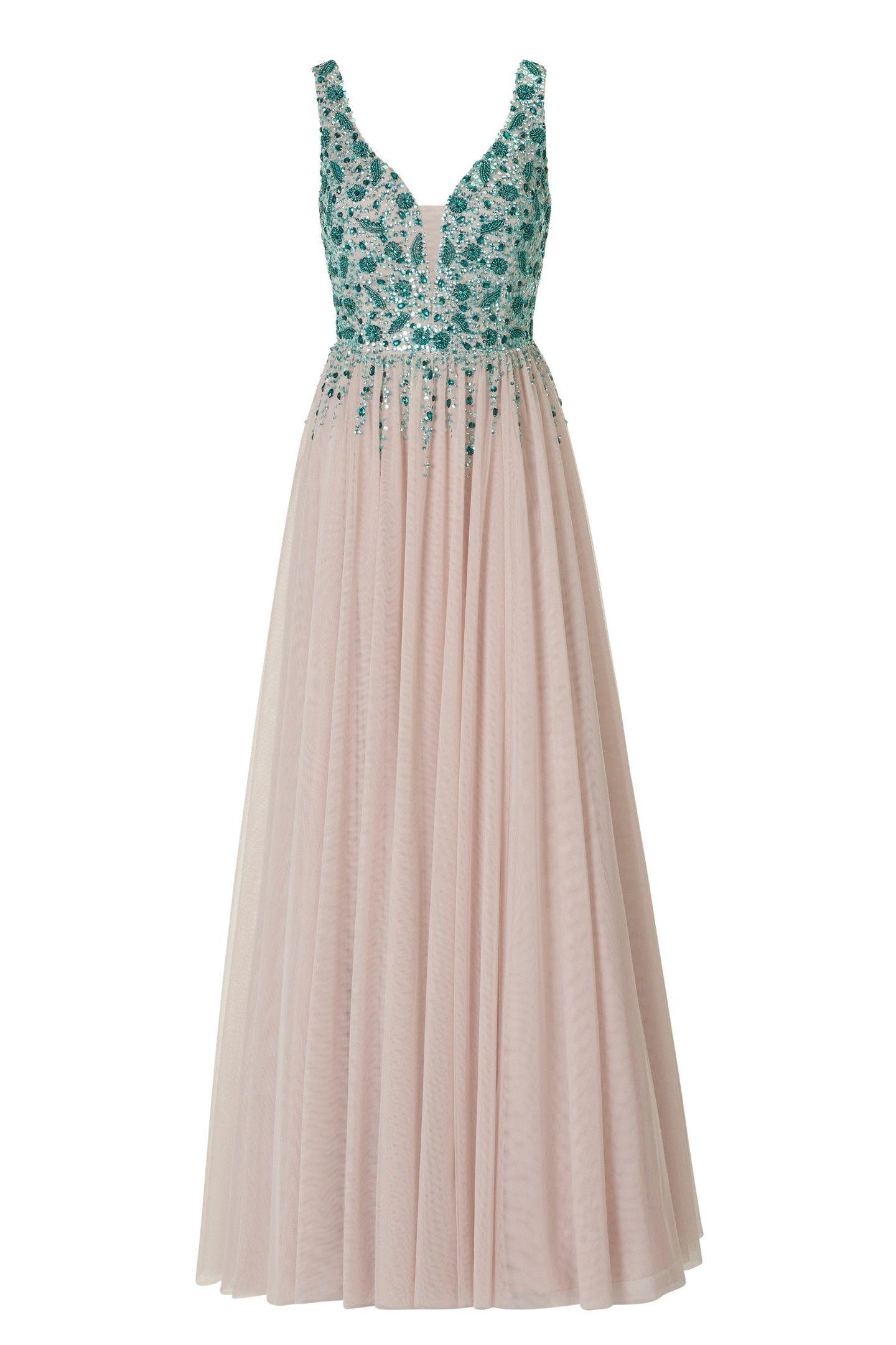 Ausgefallenes langes Kleid • Leichtes Kleid aus Tüll mit