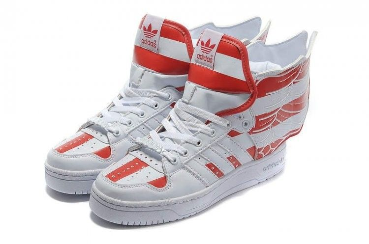 various colors d08d7 96f49 Adidas Originals Jeremy Scott Wings 2.0 White Red Flags American Baskets  (TA67)