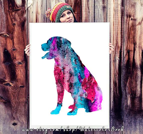 Rottweiler Watercolor Print Rottweiler art Home by WatercolorBook