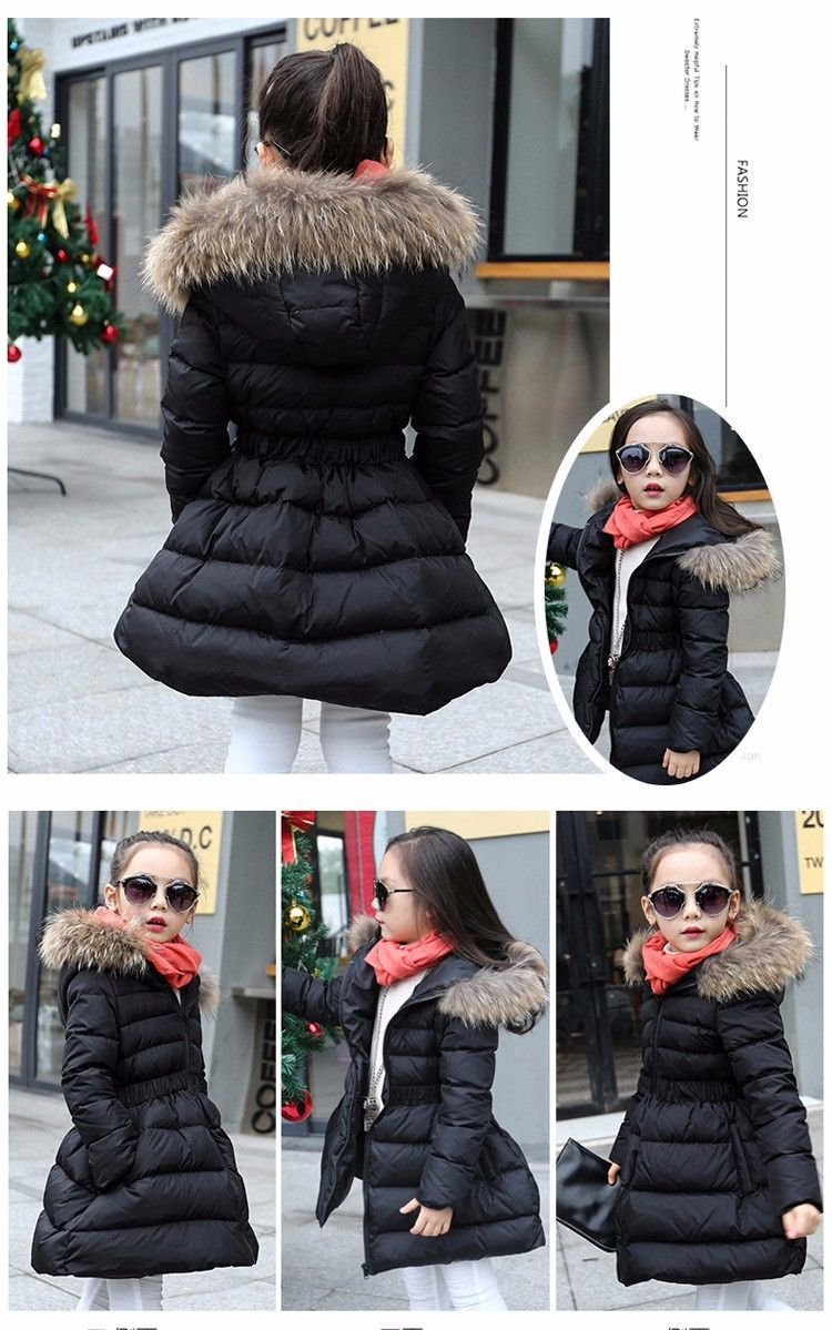 Hooded children padded jacket warm long coats girls outerwear thick