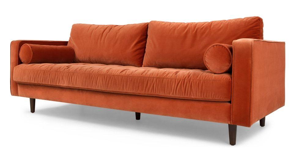 Best Made Burnt Orange Cotton Velvet Sofa Orange Sofa Velvet 400 x 300