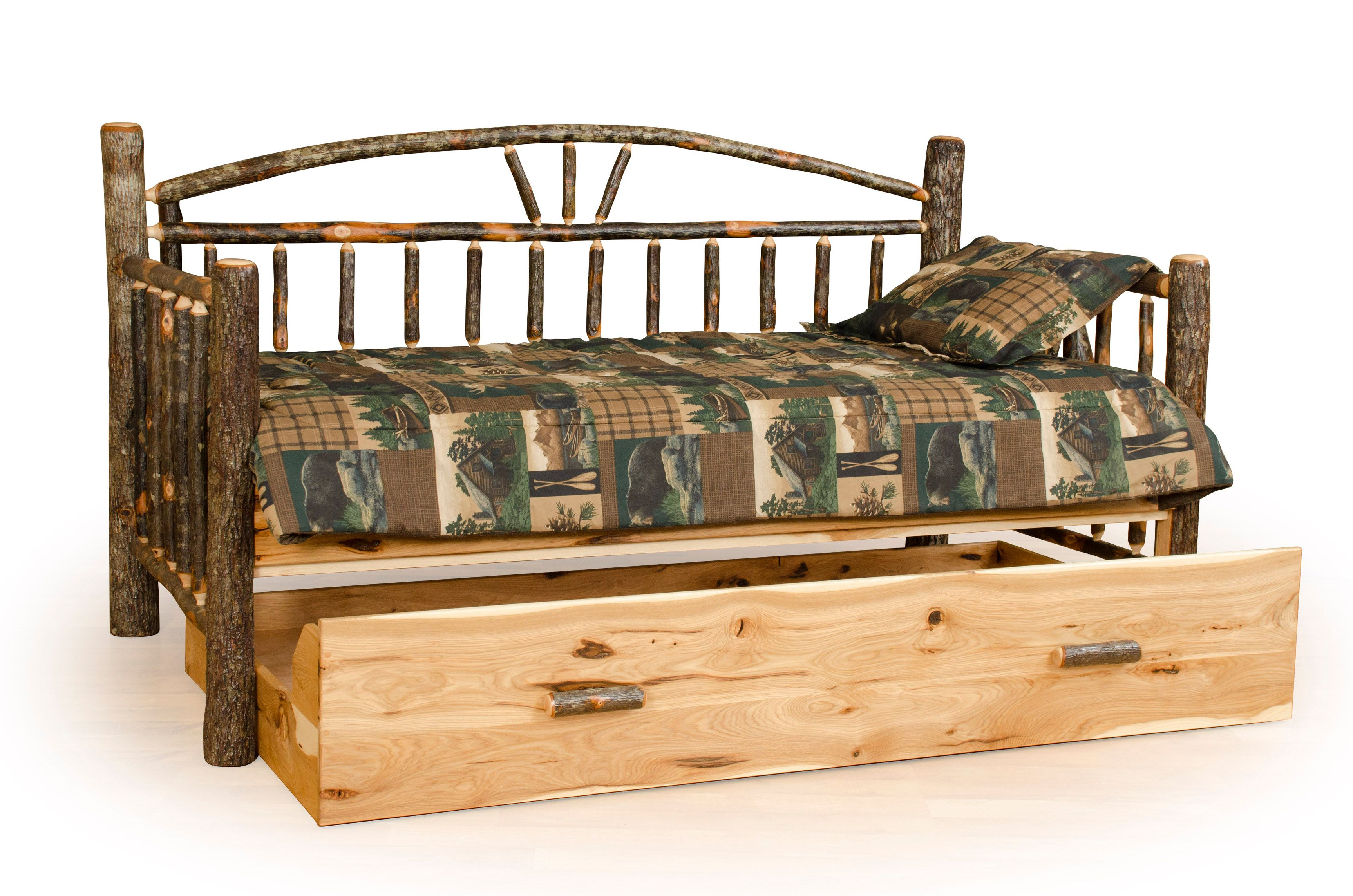 Rustic Hickory Log Day Bed with Trundle Rustic daybeds