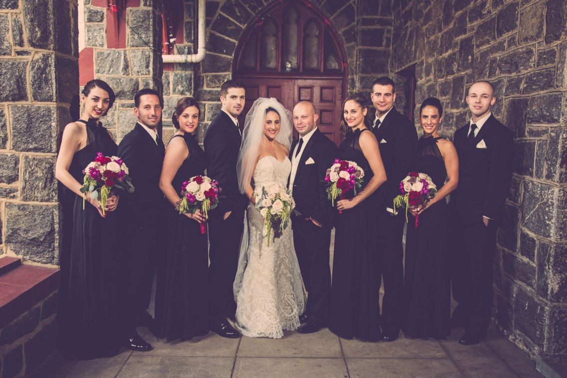 Classic wedding look. Black bridesmaids dresses. Marisa wedding gown ...