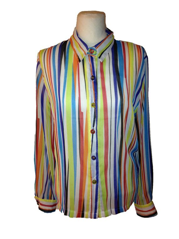 Vintage Designer Striped Sheer Blouse with Awesome by DIYstylist, $14.99