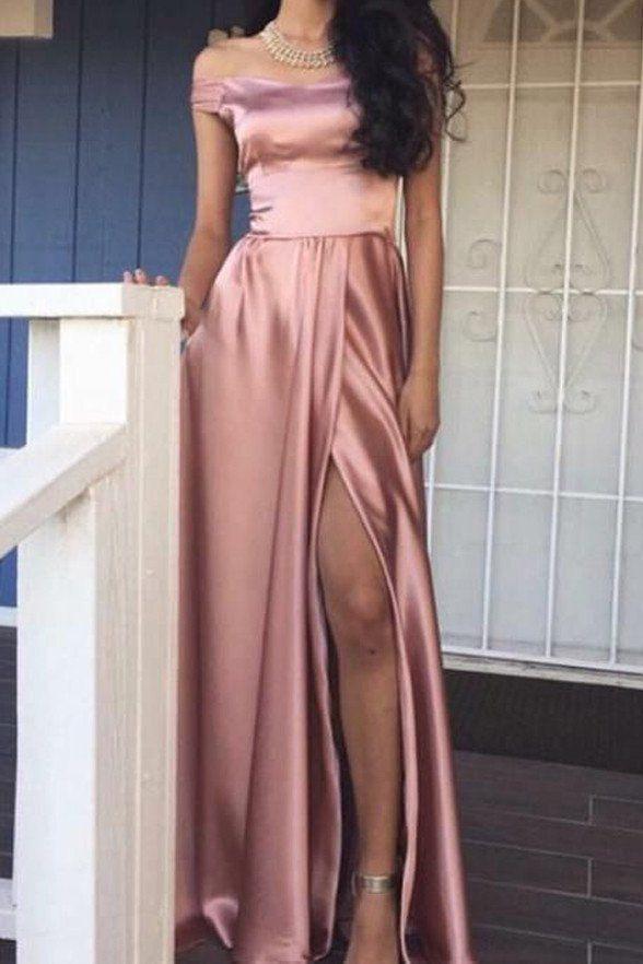 Blush Pink Off Shoulder Slit High Quality Elegant Prom Dress Party ...