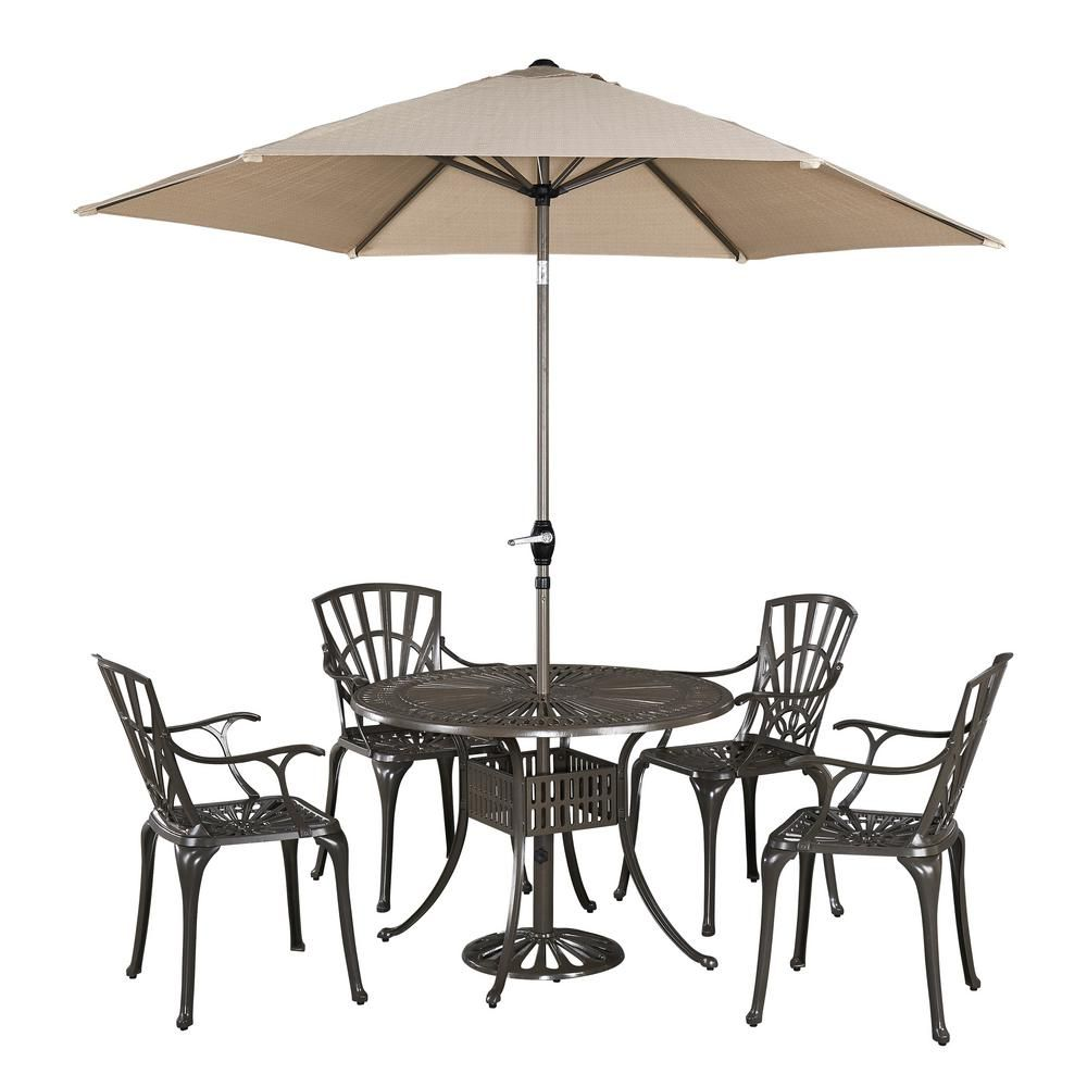 Home Styles Largo 5 Piece Patio Dining Set With Umbrella Patio Furniture Sets Patio Dining Set Outdoor Dining Set