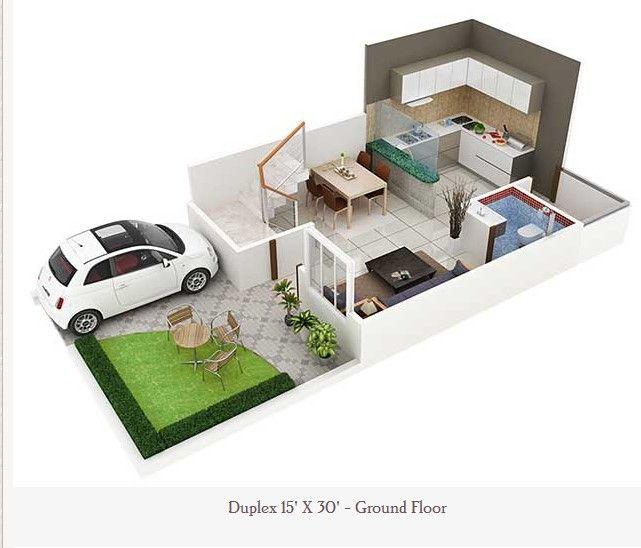 450 Square Feet Double Floor duplex Home Plan