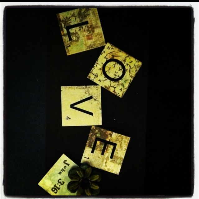 Wood blocks, with glued on scrapbook paper, then peal and stick ...