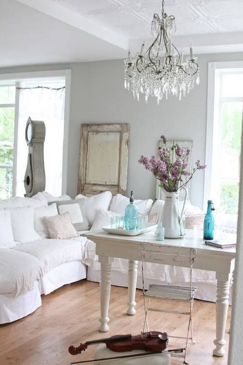 white slip covered sofas with gray walls living room