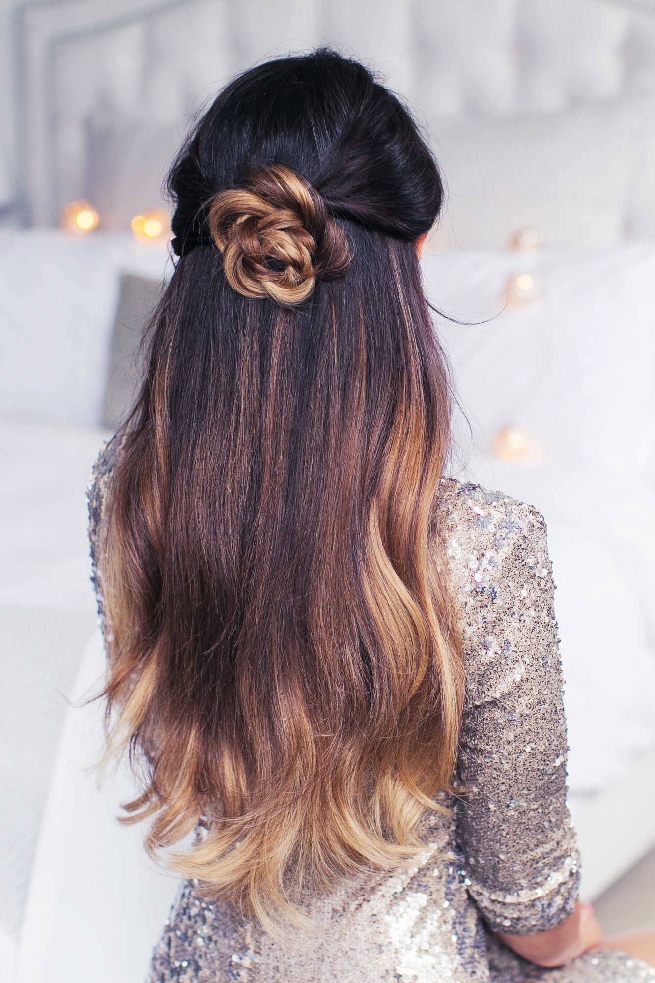 Cute and easy last minute holiday hairstyle flower braid half up