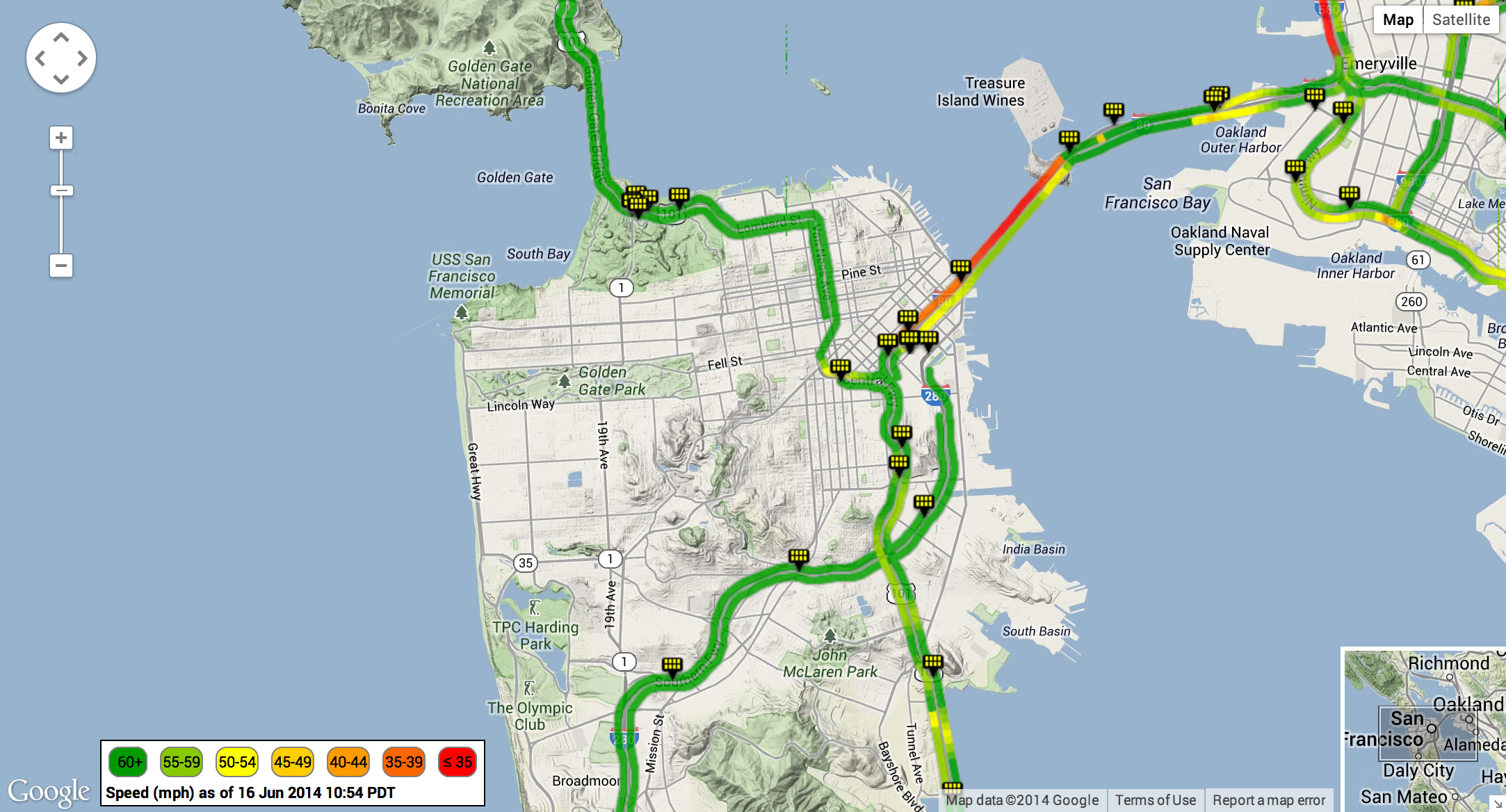 Caltrans Performance Measurement System Traffic Data Displayed On - Caltrans traffic map