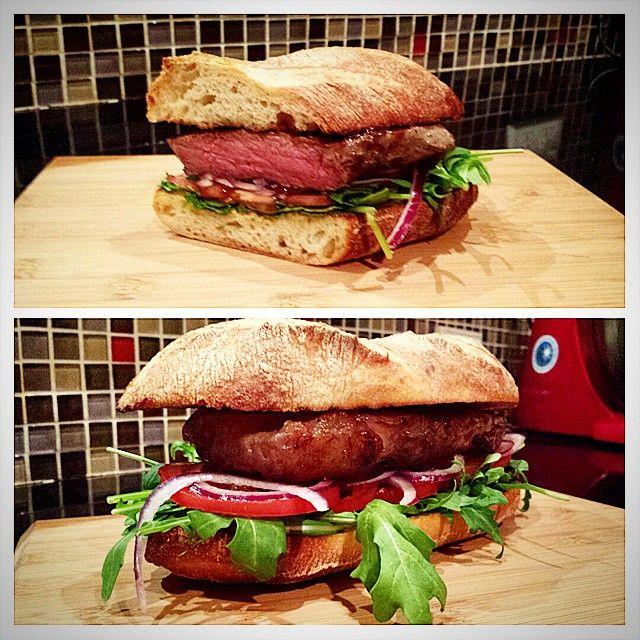 Dinner - Sous Vide scotch fillet, home baked batard. #yum #sousvide #homebakedbread #bread Photo cred: @mjhughes67