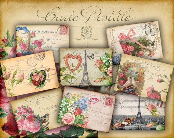 25x35 FRENCH VINTAGE POSTCARDS Printable Collage by pixelmarket, €3.50