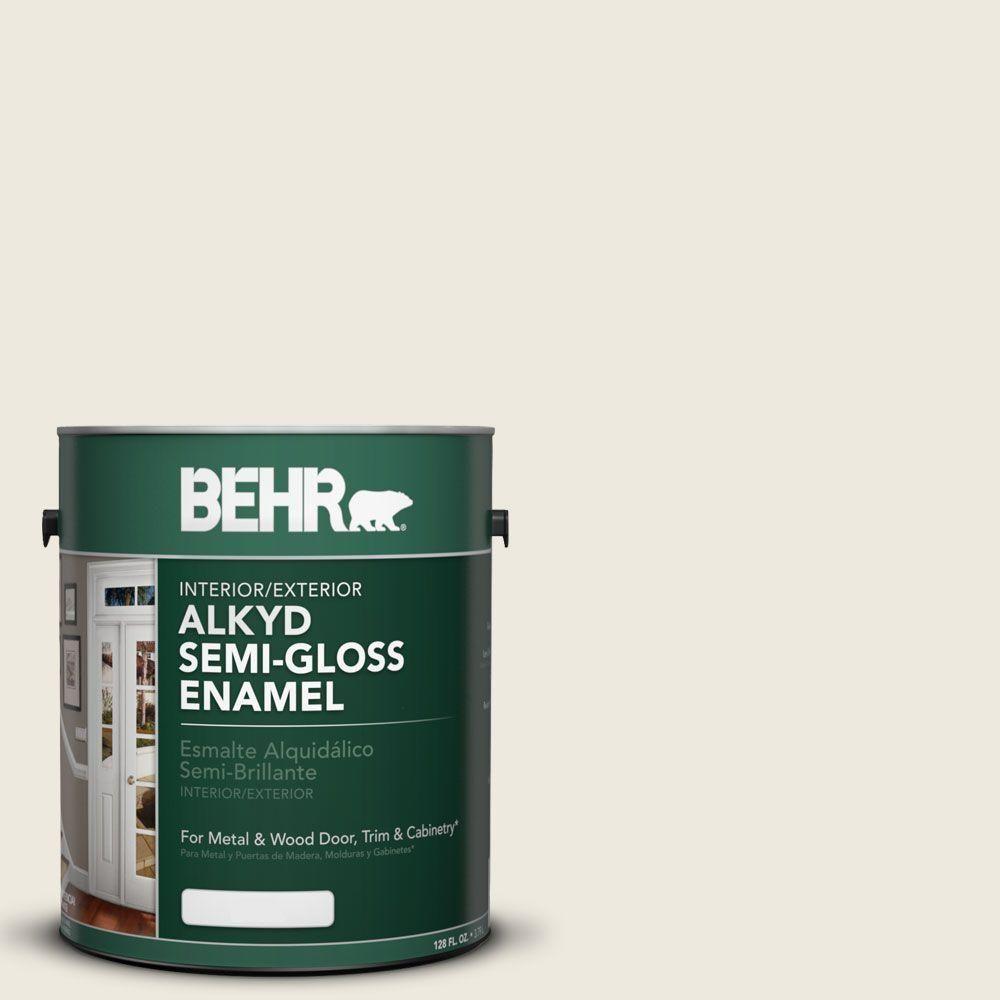 Behr 1 Gal Ae 25 Colony White Urethane Alkyd Semi Gloss Enamel Interior Exterior Paint 390001 Exterior Paint Interior And Exterior Interior Paint