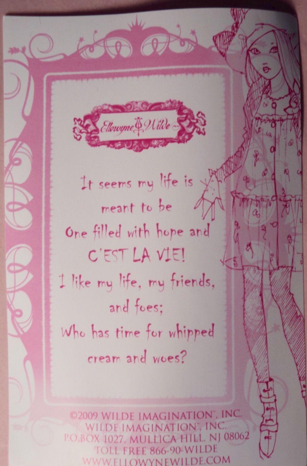 "Wilde Imagination 16"" Ellowyne Prudence C'Est La Vie Poem Card  Le 350   eBay"