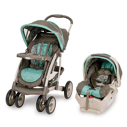 Beautiful Brown and Turqoise Graco Baby Stroller for my future kids and there very convenient because the car seat fits right in with the stroller