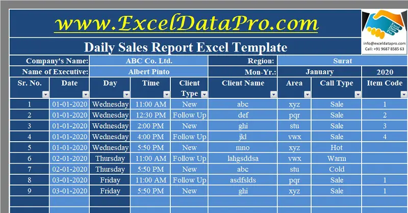 Download Daily Sales Report Excel Template | Excel ...
