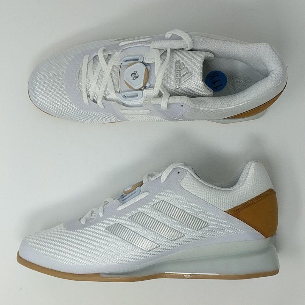 5e2f63e761f050 Adidas Leistung 16 II Mens White Silver Weight Lifting Shoes CQ1771 Sz 11.5
