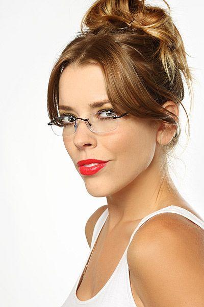 ebd9723488 Grace  Slim Rimless Rectangular Clear Glasses - Blue - 5295-2 ...