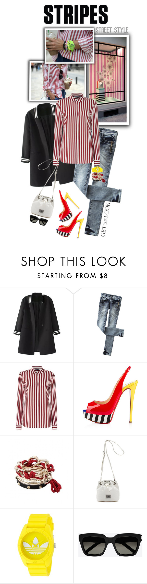 """""""One Direction: Striped Shirts"""" by shortyluv718 ❤ liked on Polyvore featuring Tommy Hilfiger, Christian Louboutin, Vans, adidas, Yves Saint Laurent and stripes"""