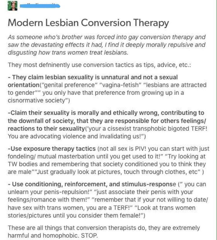 Lesbian Conversion Therapy By Transwomen Conversion Therapy