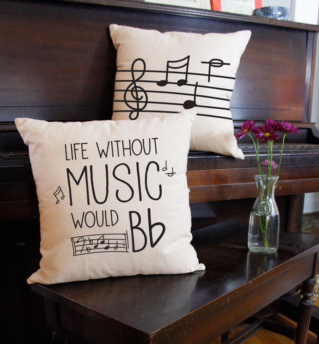 Without Music Life Would B Flat Throw Pillows #musicdecor