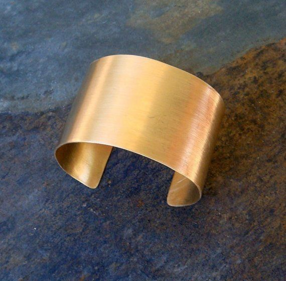 Handcrafted Wide Gold Cuff Bracelet Handmade Metalwork Jewelry Gift For Woman