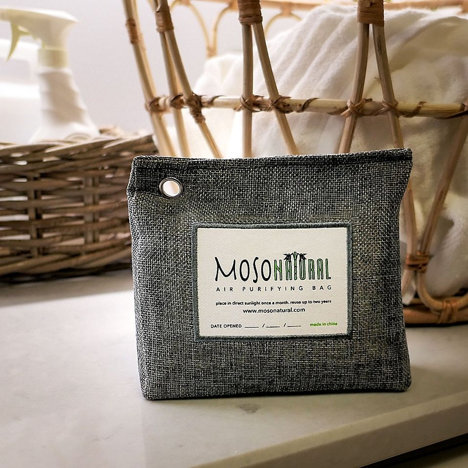 Moso Natural 10.5 Oz. Air Purifying Standup Bag Charcoal - Maintain a fresh, dry, odor-free environment with this Moso Natural Air Purifying Bag. This bag features powerful bamboo charcoal that continuously works to keep the air around you pure, breathable, and pleasant.