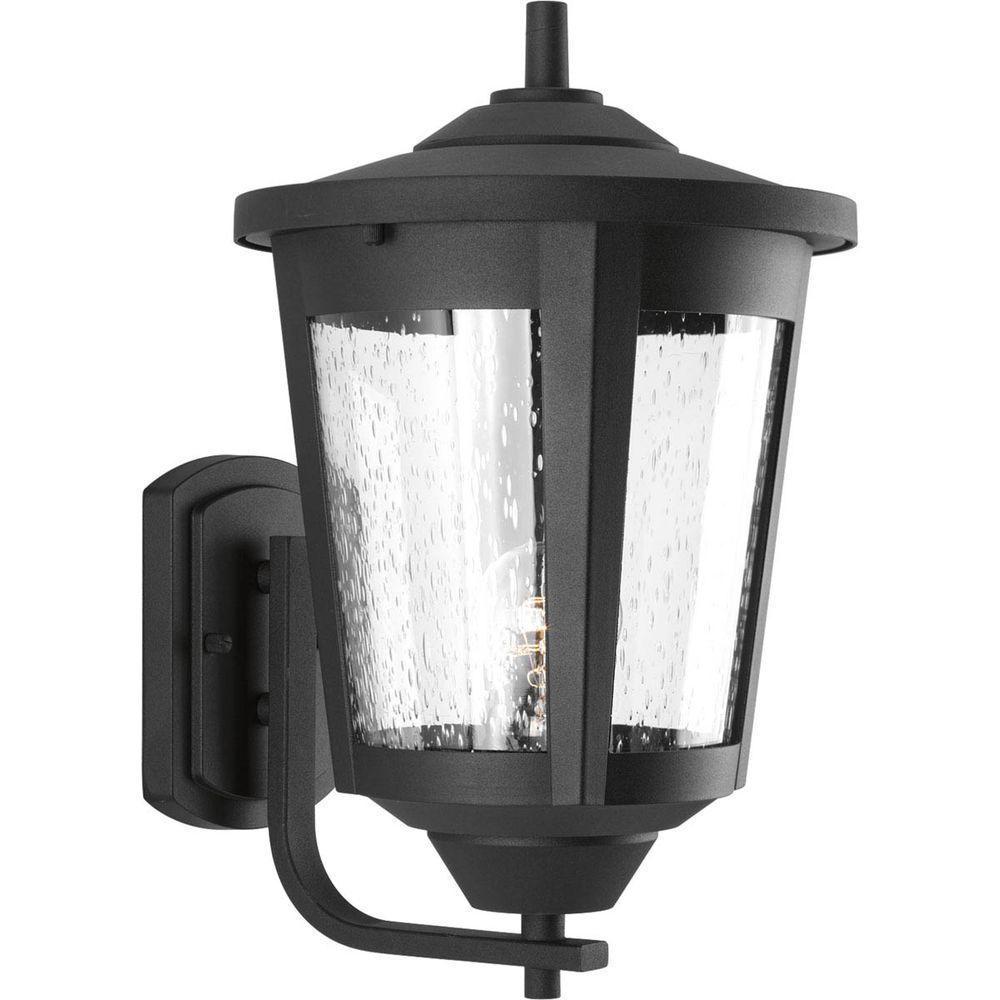 Progress Lighting East Haven Collection 1 Light Black 15 1 In Outdoor Wall Lantern Sconce P6075 31 The Home Depot Outdoor Wall Lantern Black Outdoor Wall Lights Outdoor Sconces