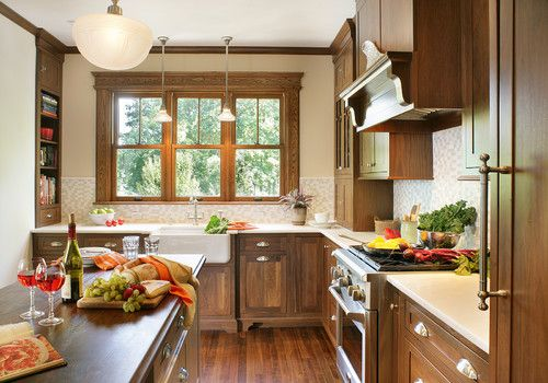 Love The Shallow Side Nook Cabinets Flanking Sink Maple Cabinetry Contemporary Farmhouse Style Contempora Craftsman Kitchen Kitchen Design Eclectic Kitchen