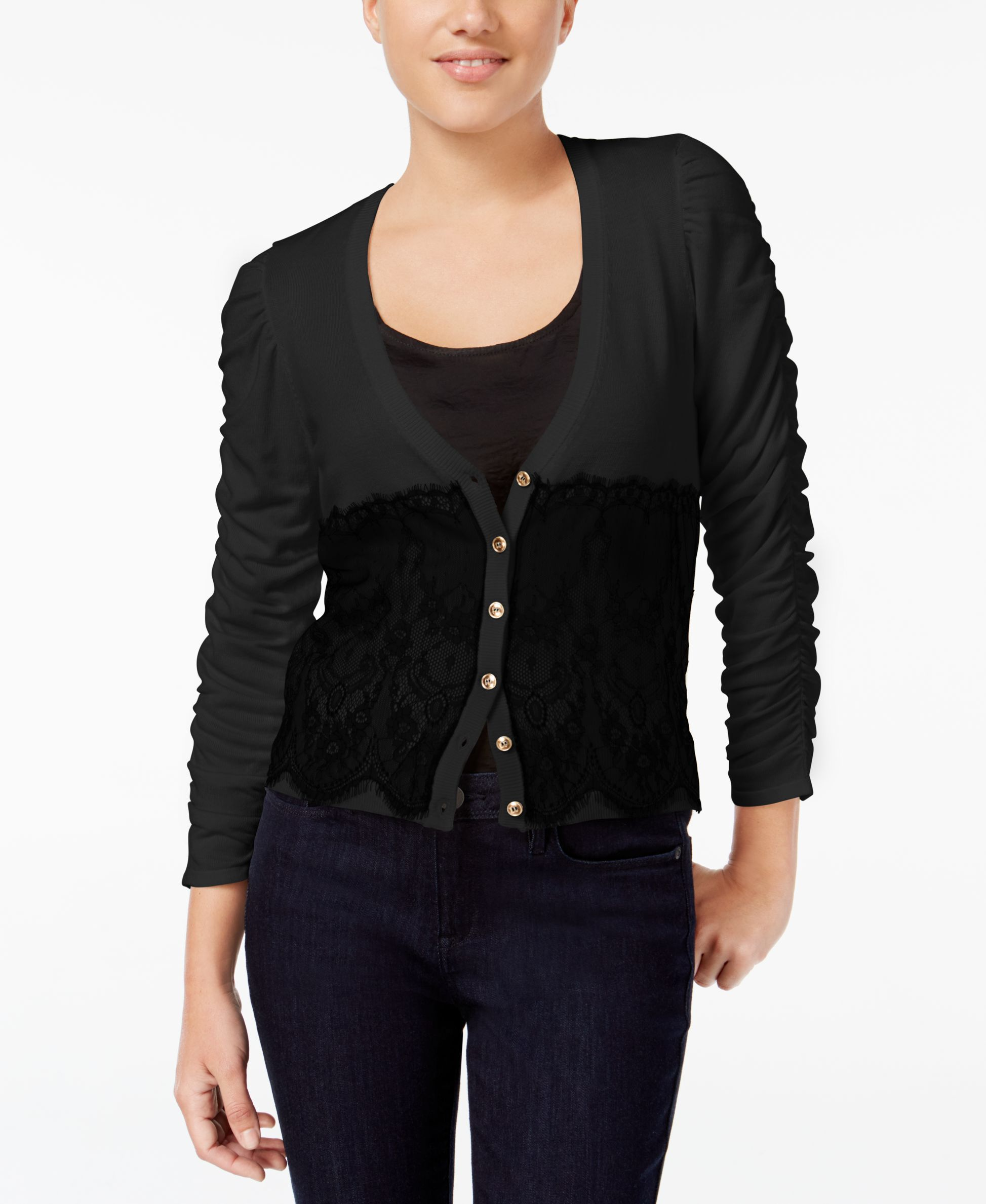 Xoxo Juniors' Ruched-Sleeve Lace Cardigan | Products | Pinterest ...