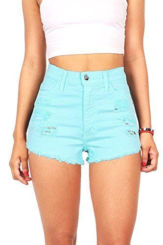 Vibrant Women's Juniors Denim High Waist Cutoff Shorts at Amazon Women's Clothing store: