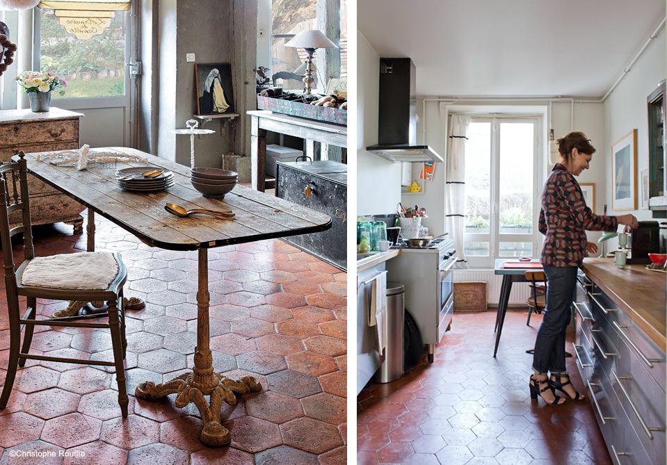 Quelle couleur pour une cuisine dont le sol est en tomette et les ...