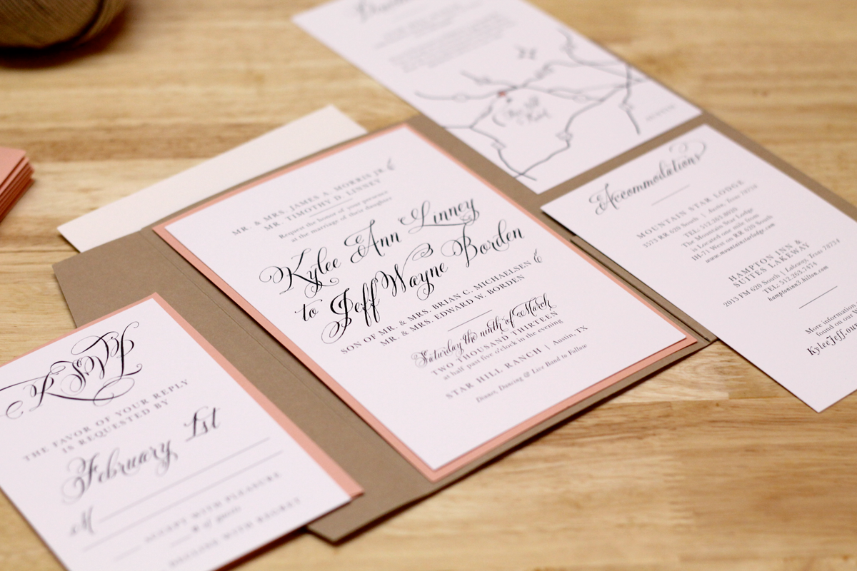 what write on wedding invitation%0A Rustic Peach Wedding Invitation with Kraft Pocketfold and Custom Map