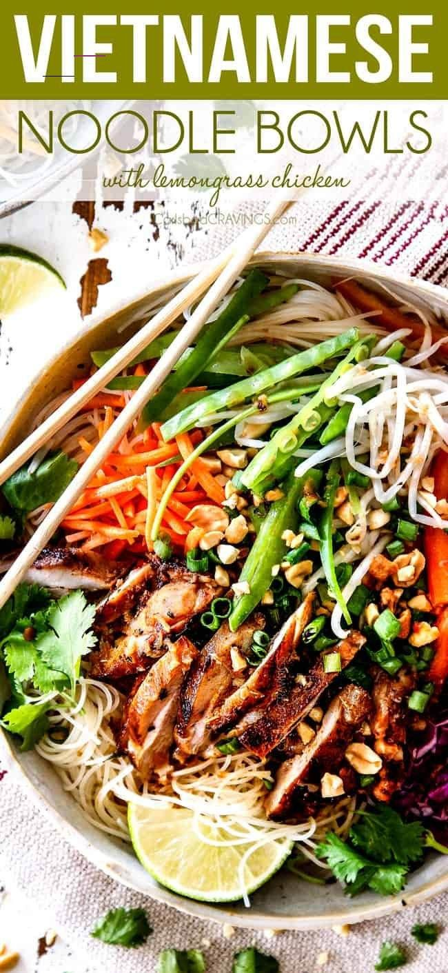 Vietnamese Noodles These Vietnamese Noodles with Lemongrass Chicken are AMAZING!  A satisfying, healthy, fresh and vibrant meal-in-one medley you will crave for days!  The juicy chicken alone is worth making this!  They also make awesome meal prep for instant lunches or dinner!  #asianrecipes #recipe #chicken #marinade #grilling #dinner #chickenmarinade #healthyrecipes #healthy #lemongrasschicken #noodles #ricenoodles #asiannoodles #vietnamesenoodles #vietnameserecipes via @carlsbadcraving<br>