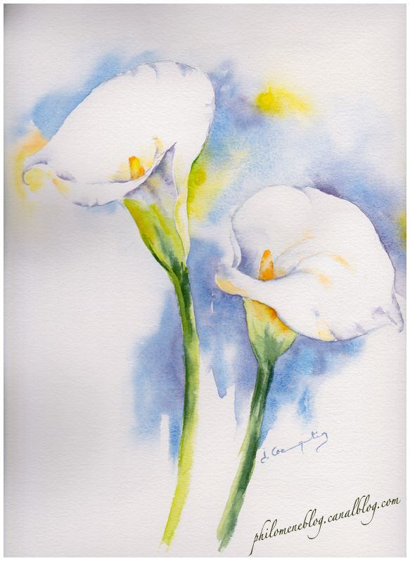Flowers Philomene Art Abstrait Aquarelle Peintures Florales