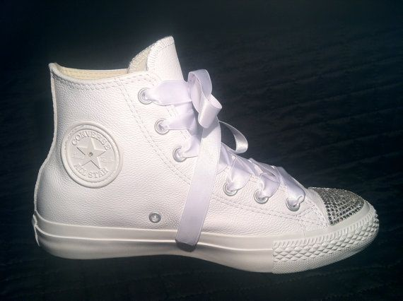 Custom Converse Wedding Shoes Chuck Taylor All Star White Leather High Tops W Swarovski S On Etsy 139 00