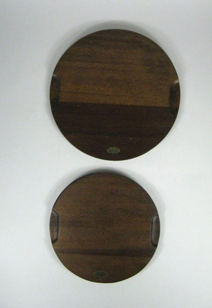 Set 2 Trivets Woodcrest by Styson Wood Cork Back Japan VTG Hot Pad Plate 8 10 In #WoodcrestbyStyson