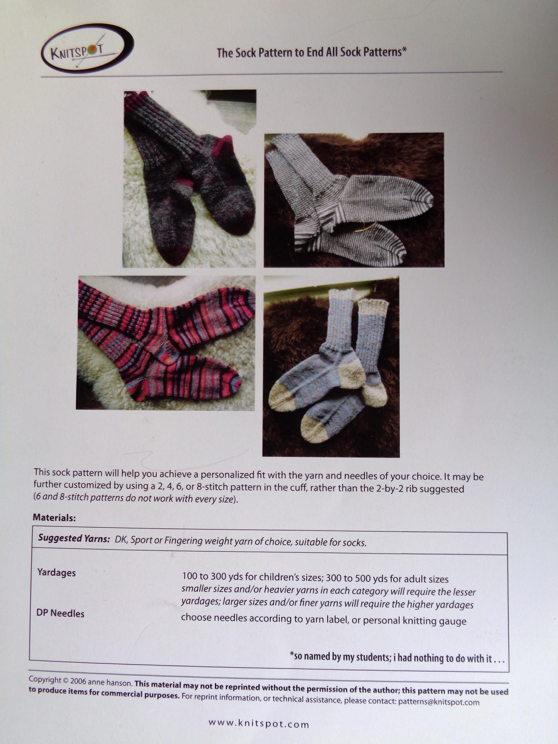 sock patterns The Sock Pattern to End All Sock Patterns knitted ...
