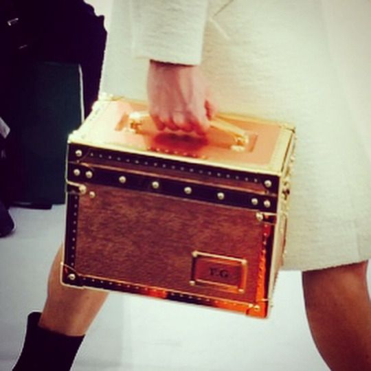 Personalized mini Malle cases at #LouisVuitton #LVFall @louisvuitton #PFW 2015