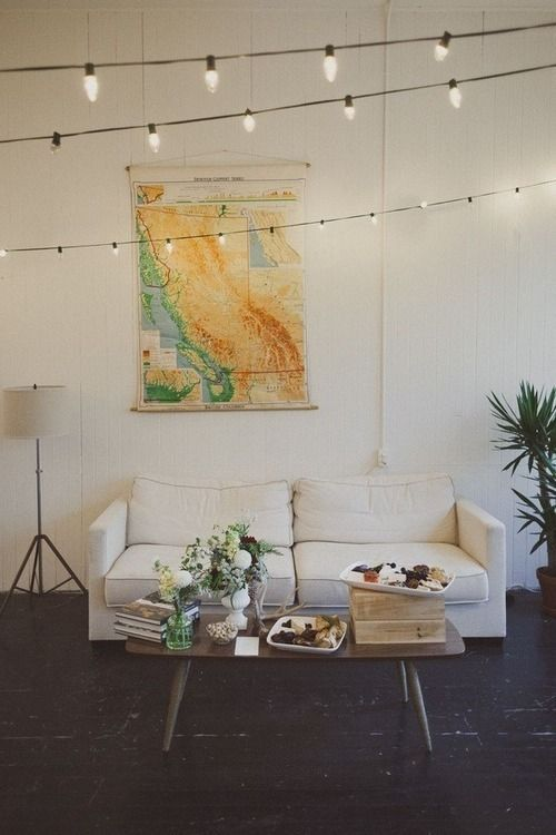 Wonderful DIY Idea: Use Maps To Dress Up A Wall. String Of LightsTwinkle ...