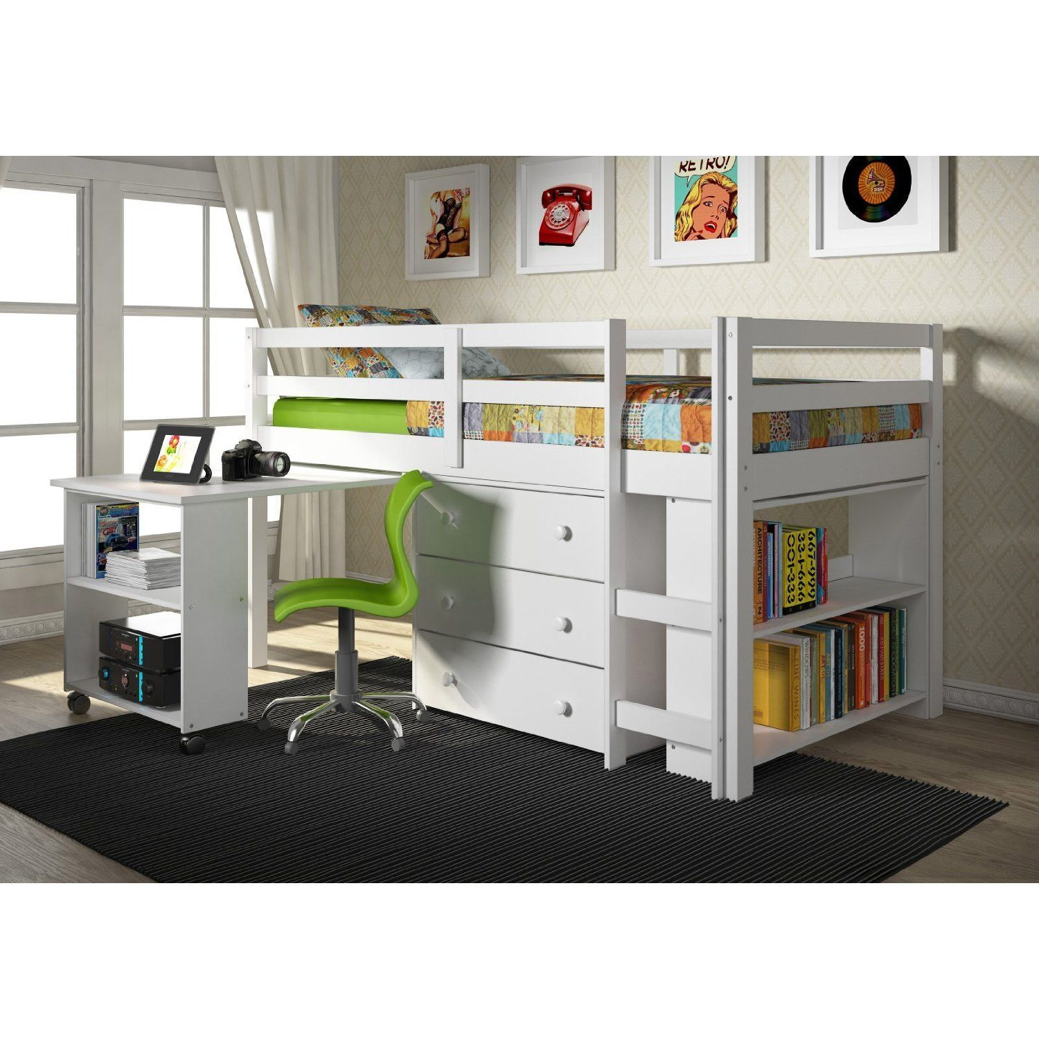 Twin Loft Bed With Desk And Storage  White